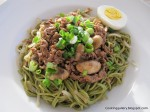 Green Tea Soba with Savoury Meat Sauce