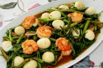 Water Spinach with Prawns and Quail Eggs
