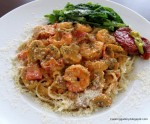 Linguine in Spicy Mushroom Sauce with Prawns
